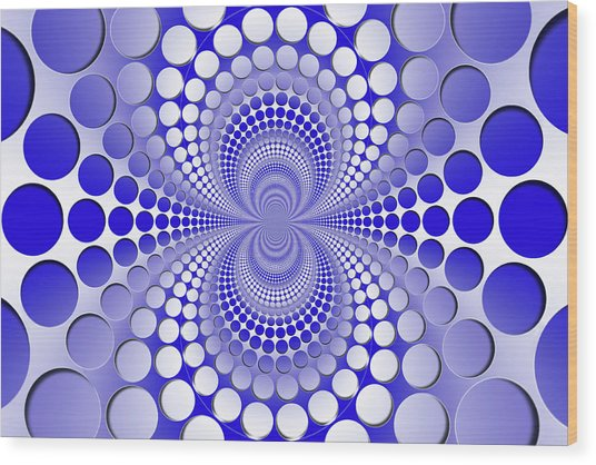 Abstract Blue And White Pattern Wood Print