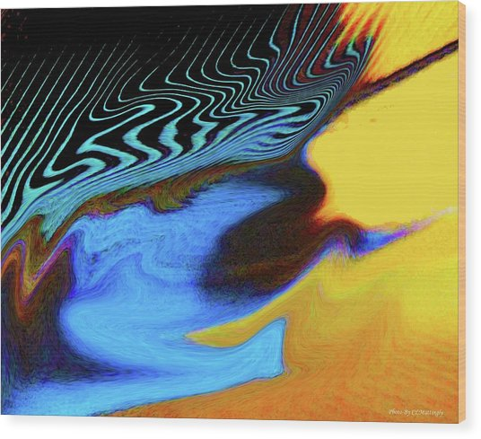 Abstract Blue Bird Feather Wood Print