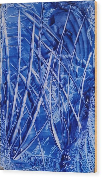 Abstract Blues Encaustic Wood Print