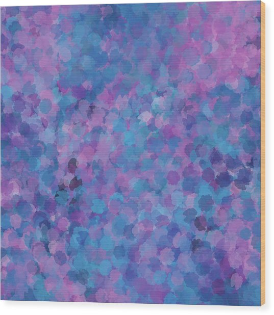 Wood Print featuring the mixed media Abstract Blues Pinks Purples 3 by Clare Bambers