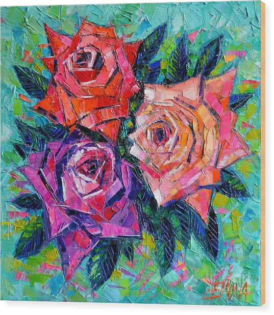 Abstract Bouquet Of Roses Wood Print