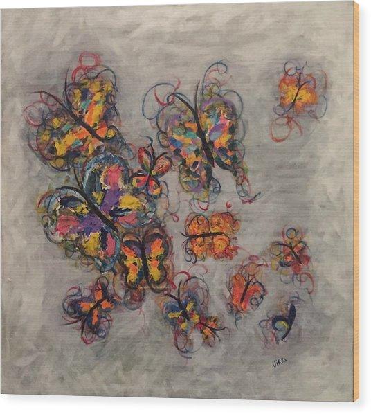 Abstract Butterflies Wood Print