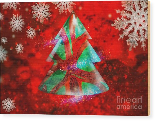 Abstract Christmas Bright Wood Print
