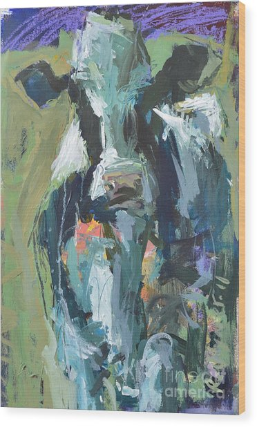Abstract Cow Painting Wood Print