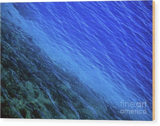 Abstract Crater Lake Blue Water Wood Print