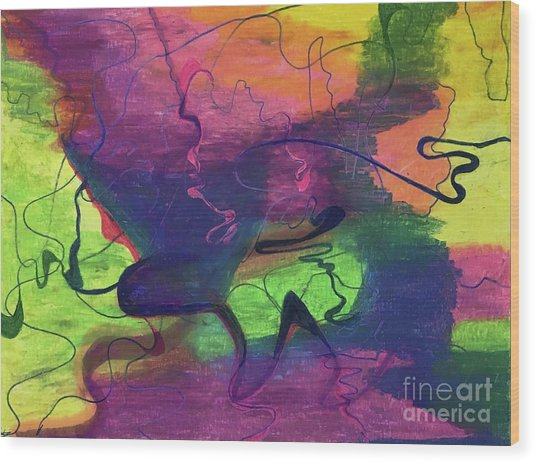 Colorful Abstract Cloud Swirling Lines Wood Print