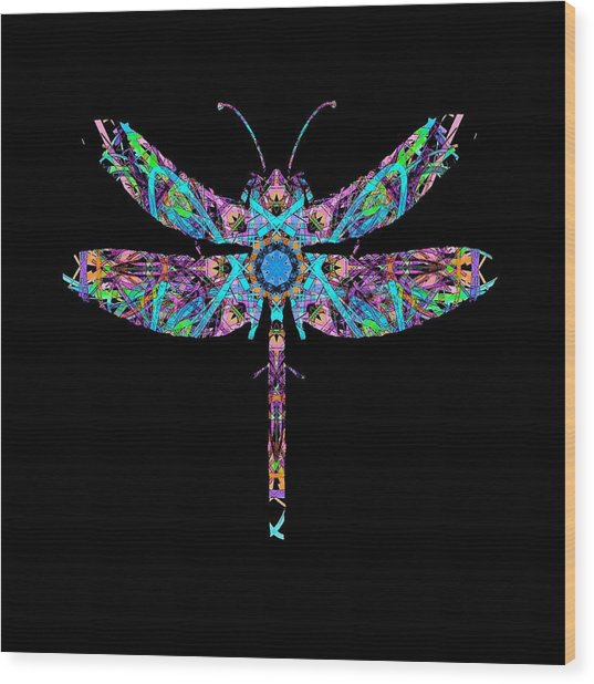 Abstract Dragonfly Wood Print