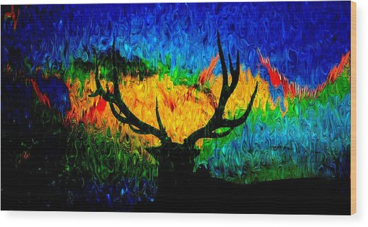 Abstract Elk Scenic View Wood Print