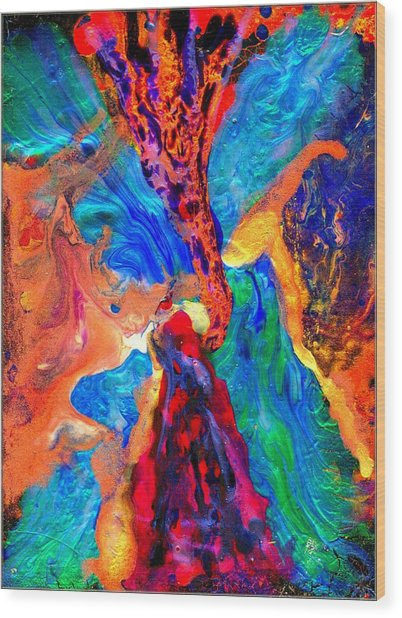Abstract - Evolution Series 1004 Wood Print by Dina Sierra