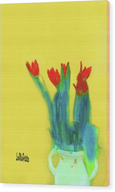 Abstract Floral Art 345 Wood Print