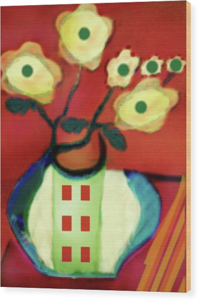 Abstract Floral Art 76 Wood Print