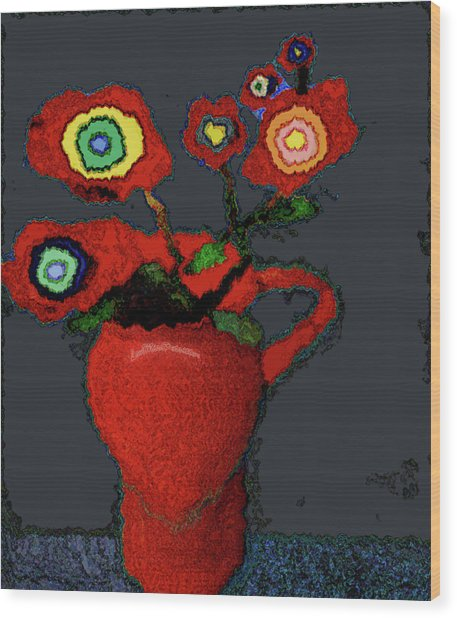 Abstract Floral Art 90 Wood Print