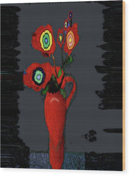 Abstract Floral Art 91 Wood Print
