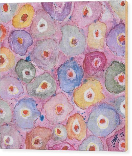 Abstract Flower Pattern Wood Print by Vanessa Baladad