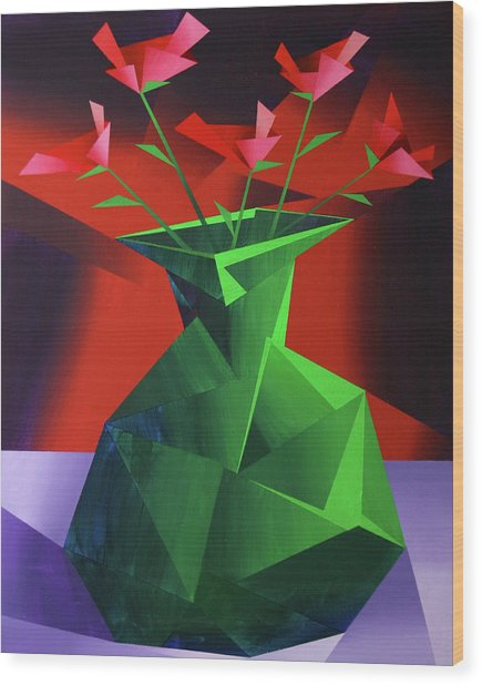 Abstract Flower Vase Prism Acrylic Painting Wood Print