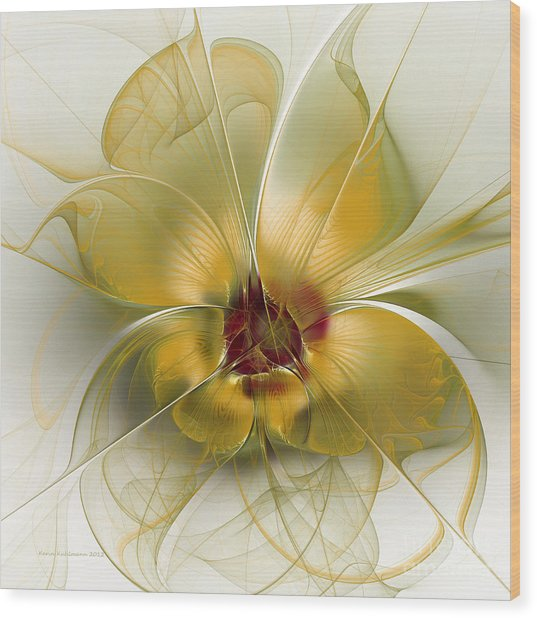 Abstract Flower With Silky Elegance Wood Print