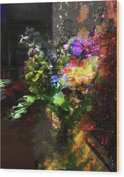 Abstract Flowers Of Light Series #17 Wood Print