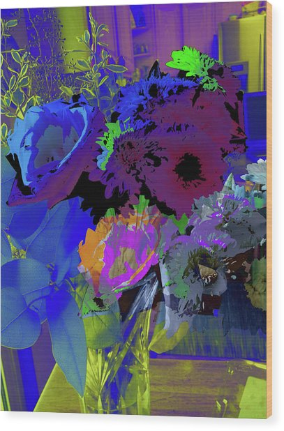 Abstract Flowers Of Light Series #18 Wood Print