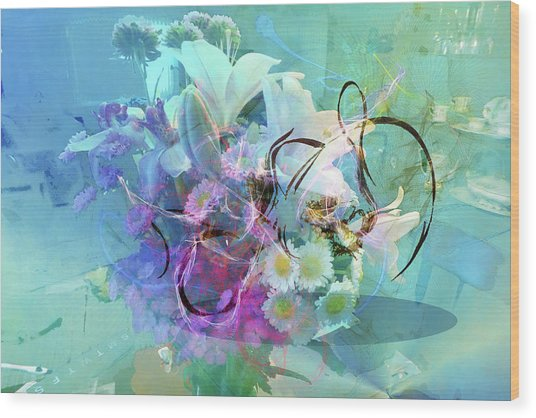 Abstract Flowers Of Light Series #9 Wood Print