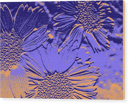 Abstract Flowers 2 Wood Print