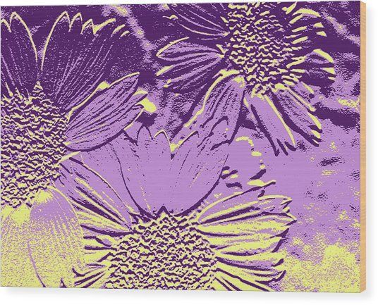 Abstract Flowers 3 Wood Print