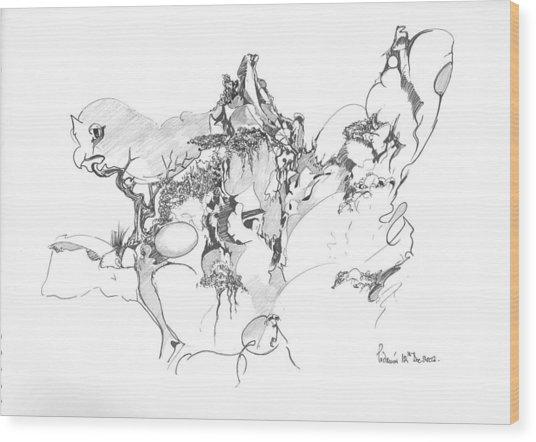 Abstract Forms Wood Print by Padamvir Singh