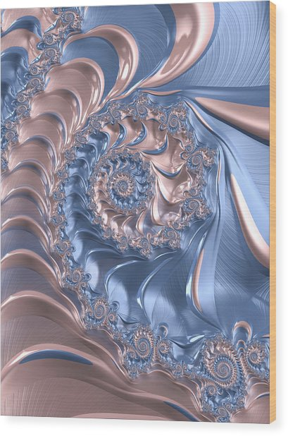 Abstract Fractal Art Rose Quartz And Serenity  Wood Print