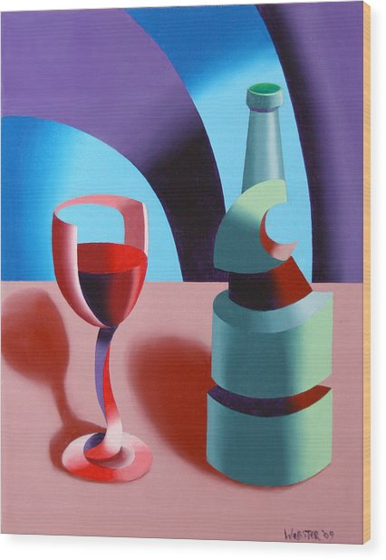 Abstract Futurist Wine And Glass Still Life Oil Painting Wood Print by Mark Webster