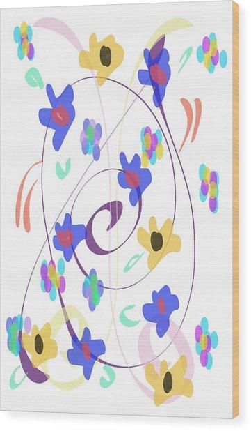 Abstract Garden Nr 7 Naif Style Wood Print