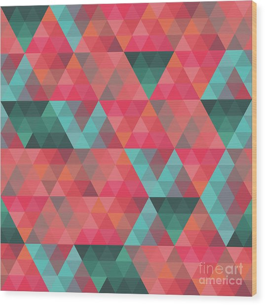 Abstract Geometric Colorful Endless Triangles Abstract Art Wood Print