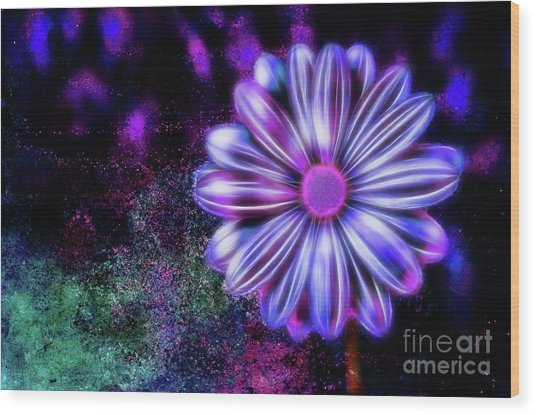 Abstract Glowing Purple And Blue Flower Wood Print