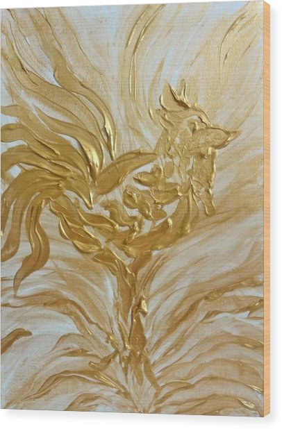 Abstract Golden Rooster Wood Print