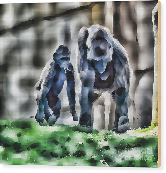 Abstract Gorilla Family Wood Print