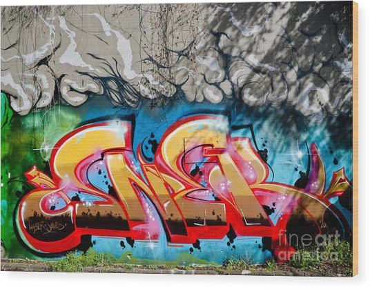 Abstract Graffiti Fragment On The Textured Wall Wood Print