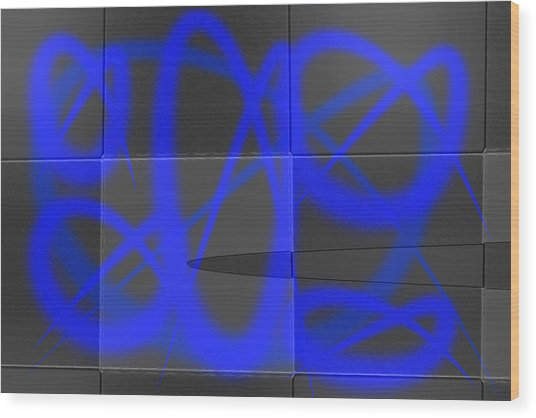 Abstract Graffitis In Blue Wood Print by Martine Affre Eisenlohr