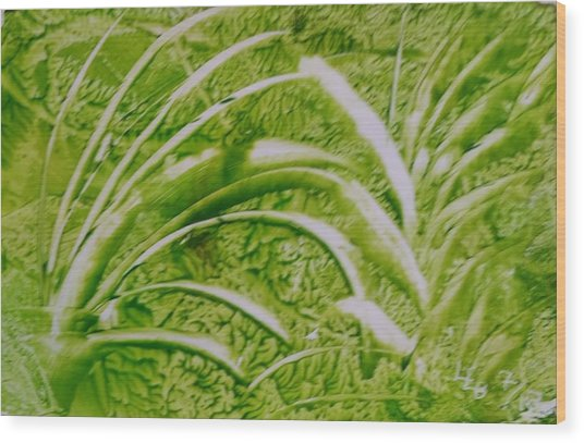 Abstract Green And White Leaves And Grass Wood Print