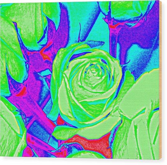 Abstract Green Roses Wood Print