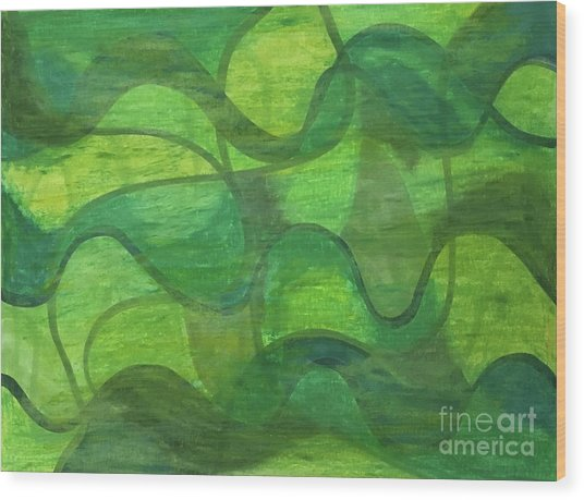 Abstract Green Wave Connection Wood Print