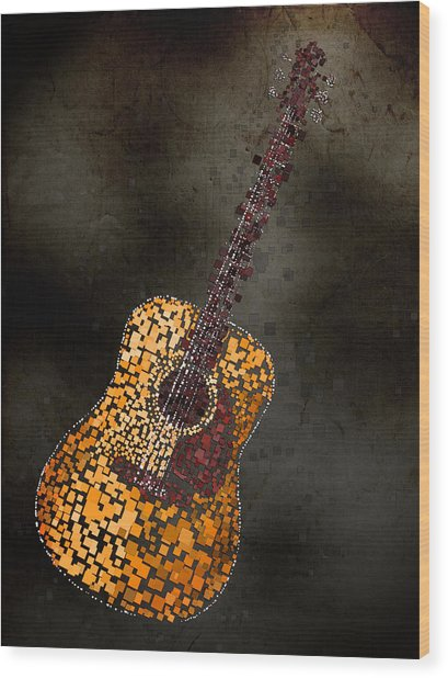 Abstract Guitar Wood Print by Michael Tompsett