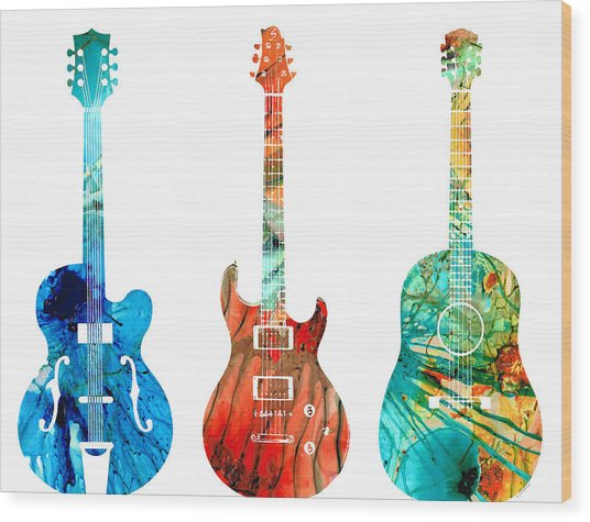 Abstract Guitars By Sharon Cummings Wood Print