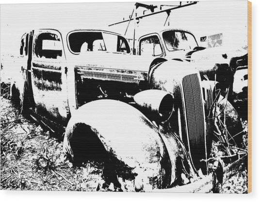 Abstract High Contrast Old Car Wood Print by MIke Loudemilk
