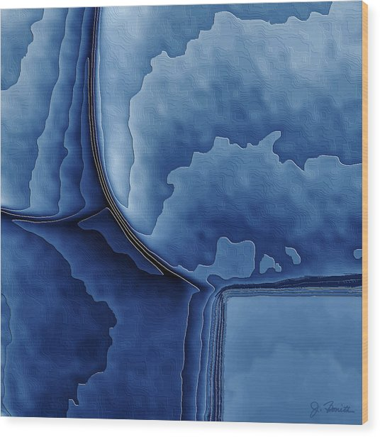Abstract In Blue Wood Print