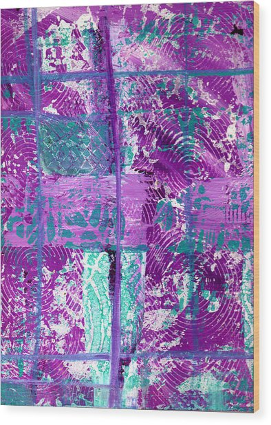 Abstract In Purple And Teal Wood Print