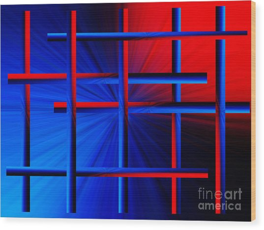 Abstract In Red/blue 3 Wood Print