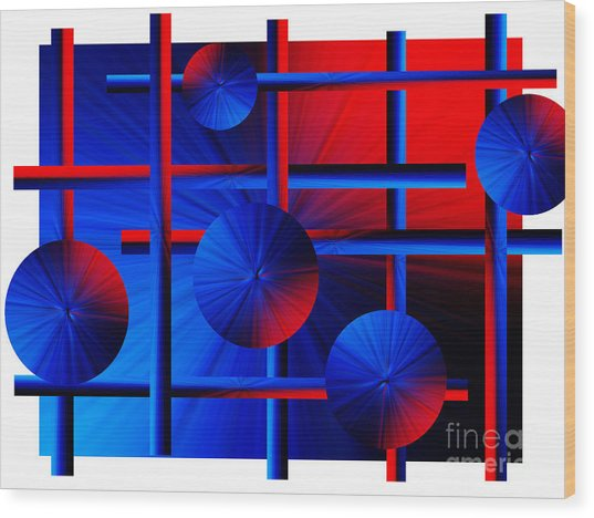 Abstract In Red/blue Wood Print