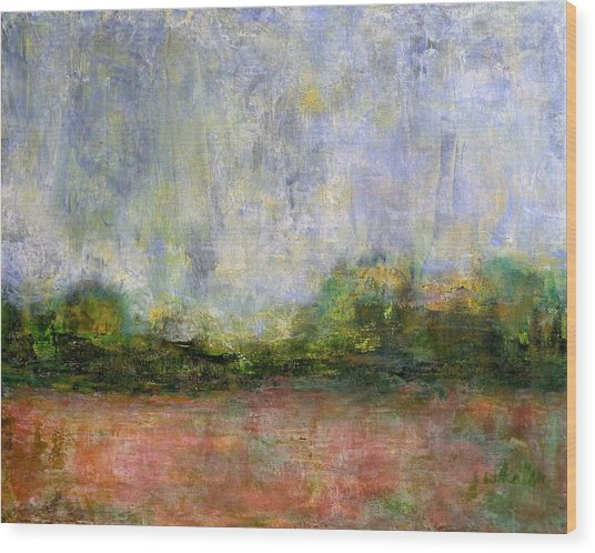 Abstract Landscape #310 - Spring Rain Wood Print