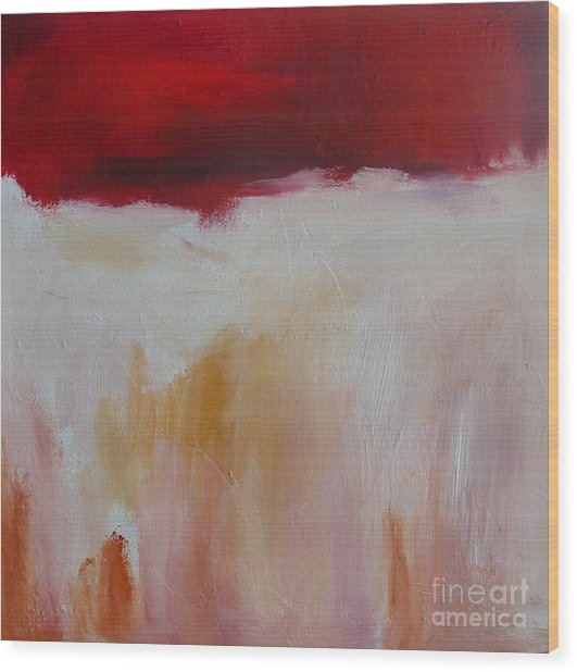 Abstract Landscape In Red Wood Print by Xx X