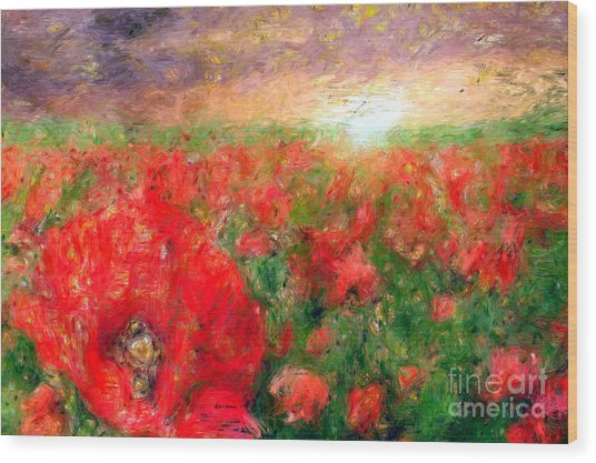 Abstract Landscape Of Red Poppies Wood Print
