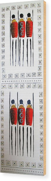 Abstract Masai Warriors Wood Print