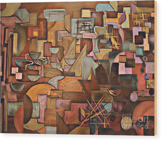Abstract Mind Wood Print